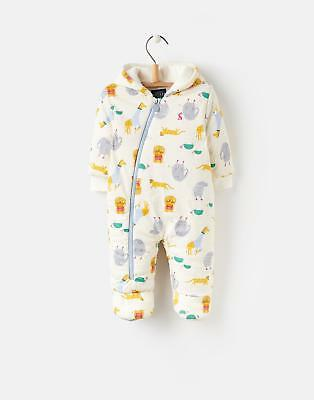 Joules 124456 Baby Boys Sung Pramsuit Made from Wadded Jersey in Cream Zoo