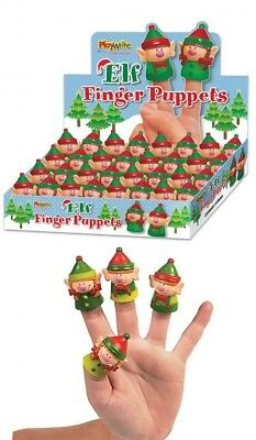 2 Elf Finger Puppets 4.5cm ,BOY,GIRL,xmas story telling.Game,present,gift.