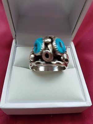 935 Silver Navajo Turquoise Cabochon Silver Ring by Max Calabaza Size U