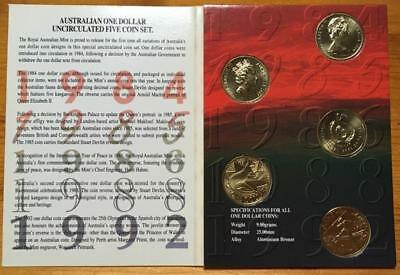 One Dollar  (1984-1992) Australian Five Coin Set..as New.