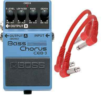 Boss CEB-3 Bass Chorus Pedal CEB3 + 2 Patch Cables