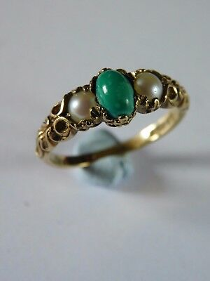 ANTIQUE 9ct GOLD PEARL & GREEN STONE RING