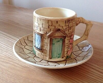 Cottage Ware 'Croft' Tea Cup And Saucer By Crown Windsor H 8.5 cm