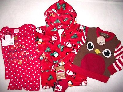 Baby Girls Boys Christmas Bumper Bundle Jumper Robe PJ'S & Socks  12-18 months