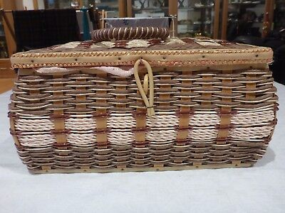 Collectable Wicker Type Sewing Basket Box