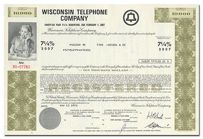 Wisconsin Telephone Company Bond Certificate