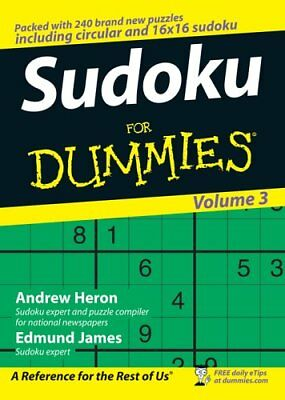 Sudoku For Dummies:Volume 3 by Edmund James Paperback Book The Cheap Fast Free