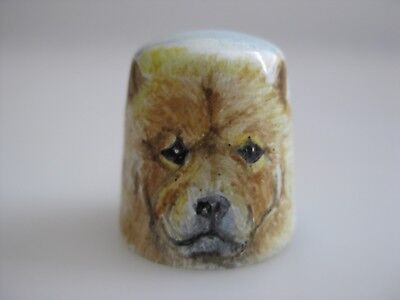 ENAMEL on Copper DOG Chow Chow Hand Painted Thimble