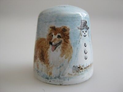 ENAMEL on Copper DOGS Snowman  Hand Painted Thimble