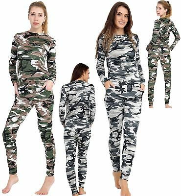 Womens Camouflage Leopard Print Loungewear Army Tracksuit Ladies Jogging Set