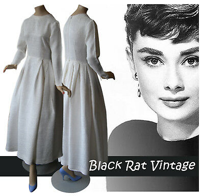 Vintage 1950s Superb Elegant Hepburn White Brocade Wedding Swing Dress UK10