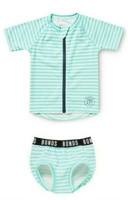 GIFT IDEA - NEW BONDS Unisex Stripe rashie Swimwear zippy set -  000 / 0 - 3mth