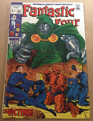 Fantastic Four # 86 - Dr Doom App / Jack Kirby Art - Marvel Silver Age 1969
