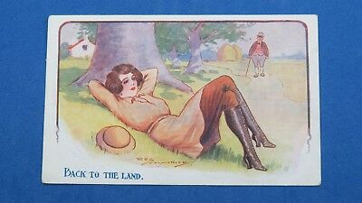 WW1 Comic Postcard Suffragette Women's Auxiliary Army Corps WAAC Land Army Girl