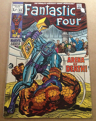 Fantastic Four # 93 - Last Silver Age Issue / Jack Kirby Art - Marvel 1969