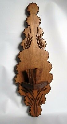 Excellent Antique Folk Art Carved Wood Wall Candle Holder, French, Rustic, Farm