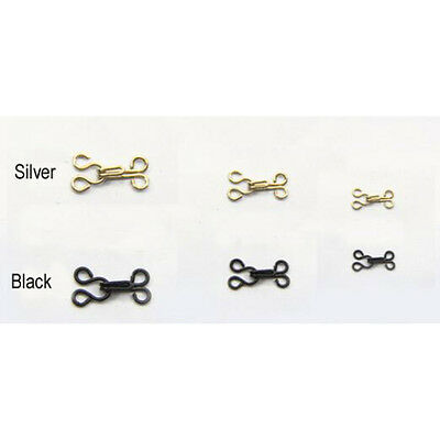10 Sets Silver / Black Hook and Eye Fasteners for Fur Dress Skirt Collar Bra Sew