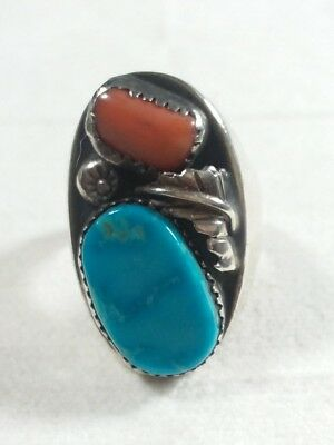 Navajo Mixed Metals Silver Heavy Feather Turquoise & Coral Size 9.5 Ring