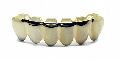 Grillz Plain placcato oro riga inferiore Hiphop Bling Grillz