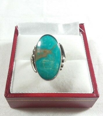 Bell Trading Post 925 Sterling Silver Beaded Design Turquoise Size 5 Ring