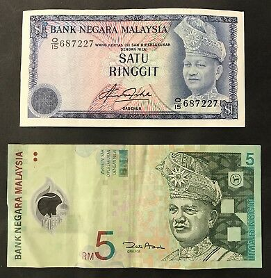 2 x BANKNOTE COLLECTION - MALAYSIA - 5 RINGGIT + 1 RINGGIT. (1390)