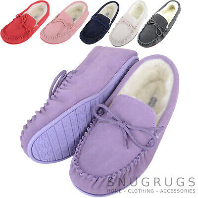 SNUGRUGS Ladies / Womens Luxury Lambswool Suede Moccasin / Slipper Rubber Sole