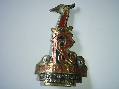 "Vintage Heron Head Embossed Bicycle Head Badge ""the Raleigh"" Brass."