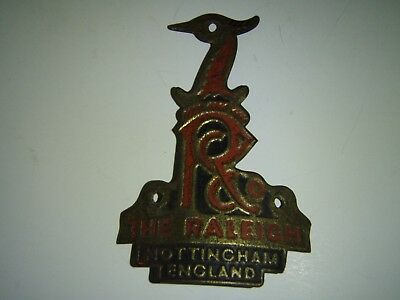 "Vintage Heron Head Embossed Brass Bicycle Head Badge ""the Raleigh"" England."