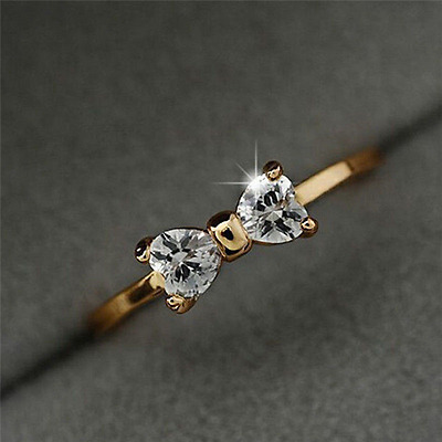 Ring 9ct Gold filled Bow Engagement Diamond size J Modern Stlye Gift Summer