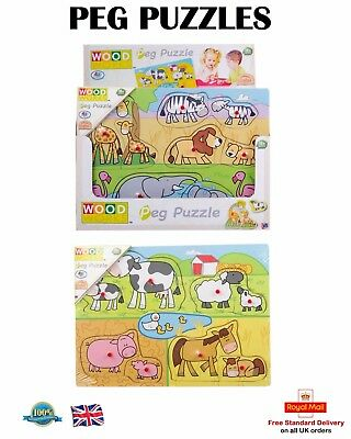 PEG PUZZLE WOODEN PUZZLE Jigsaw Toddler Kids Learning Educational Toy Gift