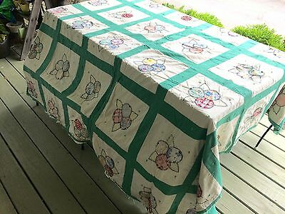 green as is vintage quilt top quilt healthy great for repurposing hand stitched