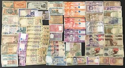 63 X Mixed Indonesia, India & Asia Banknote Collection (1384)