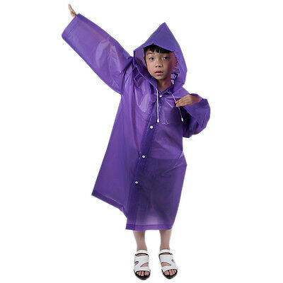 Kids Girl Boy Hooded Jacket Rain Poncho Raincoat Cover Long Rainwear Poncho HOT