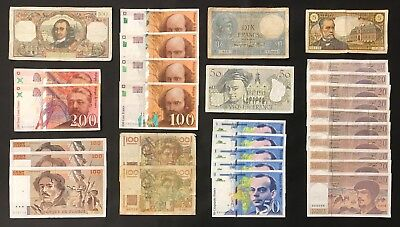30 X Mixed French Banknote Collection - France - Francs - Europe.  (1382)