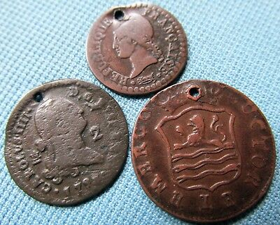 Lot 3 1700s Old Europe Copper Coins Holed for Jewelry Use -Charms France Spain