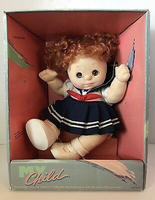 1985 My Child Doll In Box Red Hair Brown Eyes Navy Blue Sailor Dress Face Sag