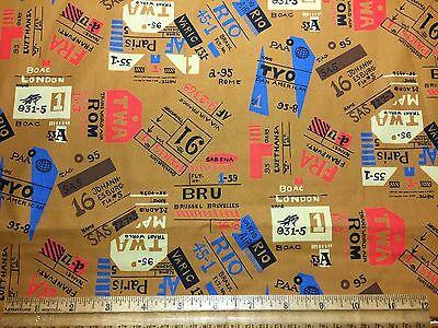 Vintage Cotton Fabric 60s 70s CUTE International Airlines TWA NOVELTY 44w 1yd