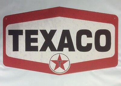 "Tin Sign 10"" X 16.5"" Texaco Hexagon Die Cut Metal Sign New"