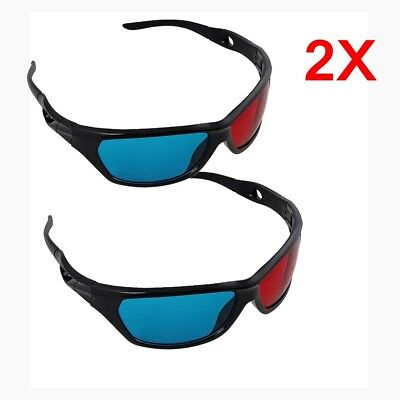 2x Black Frame Red Blue 3D Glasses For Dimensional Anaglyph Movie Game DVD TV