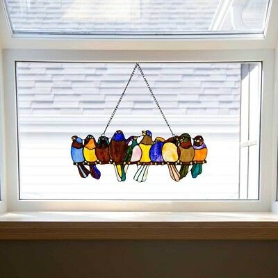 Stained Glass Birds-On-A-Wire Window Panel Hanging Sun Catcher ~ Hardware Incl.