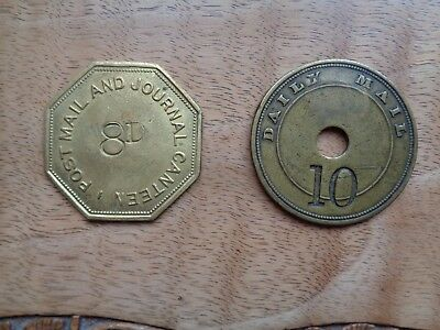 Old Newspaper Canteen Tokens[2] - Post Mail And Journal/daily Mail