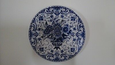 Pretty Delft Blue and White Flower Wall Plate