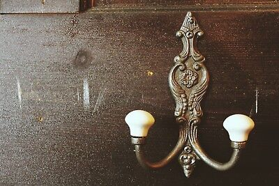 Cast Iron Double Coat Hook/Ceramic Tip/Victorian Style/Vintage/Shabby Chic