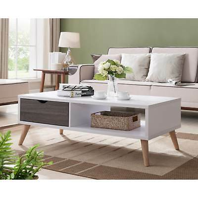 Rectangular Coffee Table Grey White 2 Tone Distressed Living Room End Table