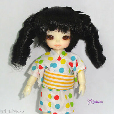 "Mimi Collection Hujoo Baby Suve 4-5"" Heat Resistant Curl Braids Bjd Wig Black"
