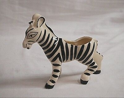 Whimsical Wildlife Safari Zebra Stripe Ceramic Planter Window Box Shelf Decr MCM