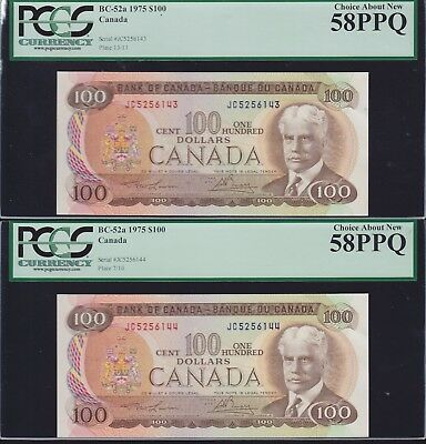 Lot of 6 Consecutive 1975 Bank of Canada $100 PCGS Graded Choice AU58PPQ
