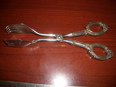 Vintage Germany Mid Century  Sterling Silver Handle Ice Pastry Fork Tongs