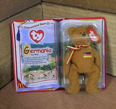 McDonalds Toy Ty Teenie Beanie International Bear GERMANIA - Rare & Retired