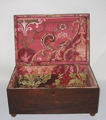 Antique Document Box Wallpaper Inside Button Feet Birdseye Maple Veneer AAFA